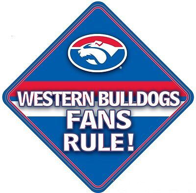 Western Bulldogs AFL Team Supporters Car Sign * Western Bulldogs Fans Rule!