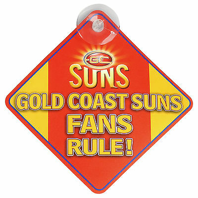 Gold Coast Suns AFL Team Supporters Car Sign * Gold Coast Suns Fans Rule!