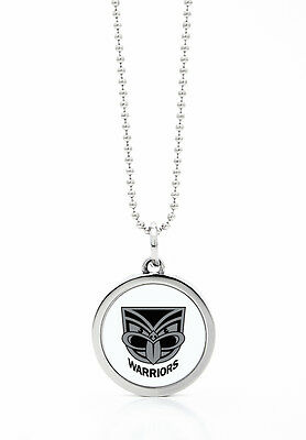 New Zealand Warriors NRL Round Style Pendant on a Silver Chain Necklace