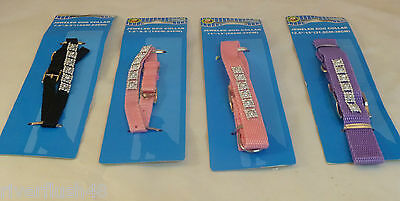 Paws N Claws Jeweled Dog Collar Pink, Purple, Or Black Assorted Sizes