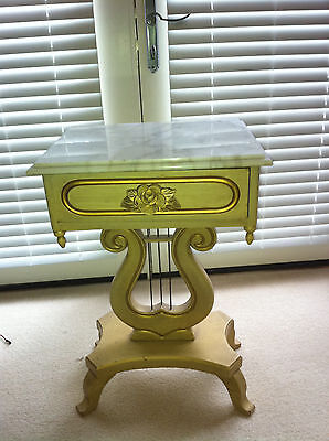 Lyre / Harp Victorian Style Hand Carved Marble Top Table