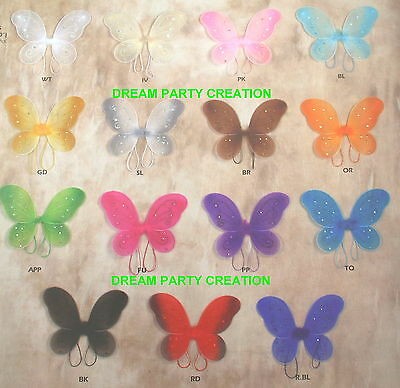 1 Butterfly Fairy Costume WINGS CHOOSE COLOR and SIZE Small, Medium or Large