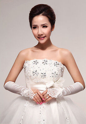 New Women Girls Party Wedding Satin Bridal Lace Floral Fingerless Gloves