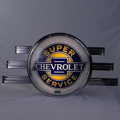 Lighted Super Chevrolet ART DECO GLOBE LENS SIGN WALL MOUNTED