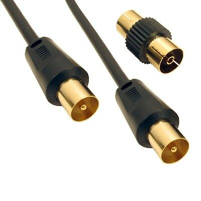 10m RF Fly Lead Coaxial Aerial Cable Digital TV Male to M Extension GOLD - BLACK