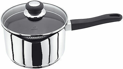 Judge Vista Pan Stainless Steel Non Stick Draining Saucepan + Glass Lid