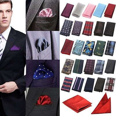 NEW Mens Silk Satin Pocket Square Hankie Handkerchief Various Colours Free P&P