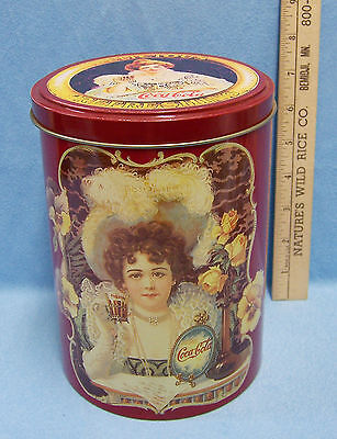 1985 Coca Cola Coke Large Round Tin Container Can Lid Victorian Ladies USA Made