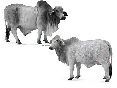 *NEW* CollectA 88579 & 88580 Grey Brahman Bull & Cow Group - Set of 2