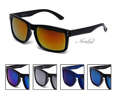 Men Sunglasses with Mirrored Reflective Flash Lens in Various Colors Blue Orange