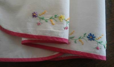 Vintage Table Runner Twisted Hand Embroidered Flowers Hot Pink 36""