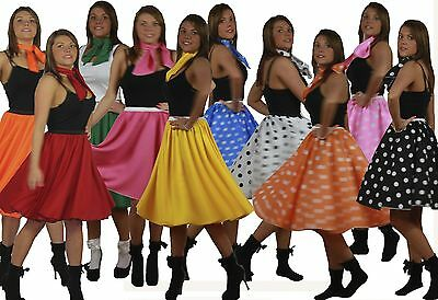 Rock N Roll Skirt n Scarf Set 1950's 1960's Female Ladies Fancy Dress All Sizes