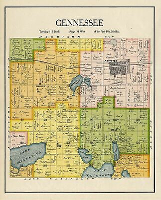 Gennessee Township Kandiyohi County Minnesota Rare 1905 Antique Map Atwater