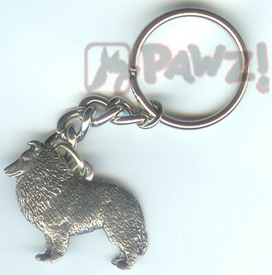 SHELTIE Shetland Sheepdog Dog Pewter Keychain Key Chain Ring NEW