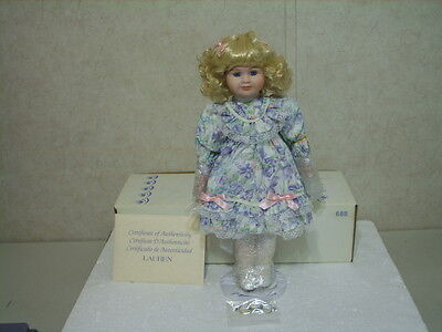 "Princess House ""lauren"" Porcelain Doll With Metal Stand Nib"
