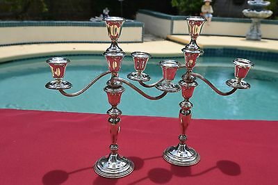 Sterling Pair of 3-Lite Candelabras - Empire #40 - 13 3/4 inches