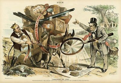 DEMOCRATIC DONKEY HEAVY LOAD TAXES McKINLEY TARIFF REVISION MAGNIFYING GLASS