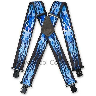 "Brimarc Mens Heavy Duty Trouser Belt Suspender 2"" 50mm Wide Blue Flame Braces"