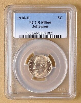 1938 D Jefferson Nickel PCGS MS66