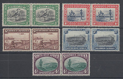 South West Africa Sc 108-113 MLH. 1931-37 Pictorials, short set to 4p value F-VF