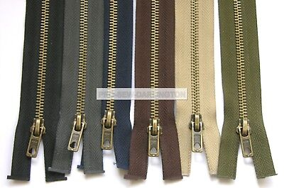 Antique Brass Metal Teeth Open Ended Zip ( Choice Of Colour )