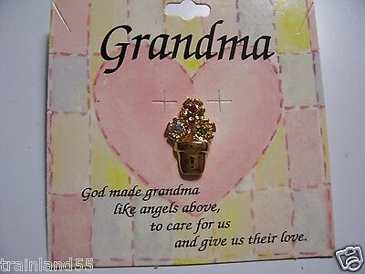 Grandma SENTIMENT PIN, W/ FLOWER POT,& 3, JEWELED FLOWERS: *GREAT-HOLIDAY-GIFT**