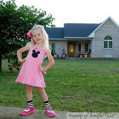 BonEful RTS Boutique 3 4 GIRL Pink B/&W Bow Dot Flower Dress Pageant Top Necklace