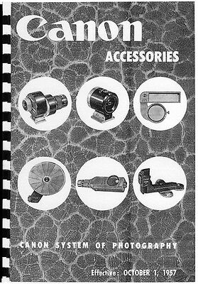 Canon Rangefinder Accessories 1957 Catalog viewfinders filters flash cases Bound