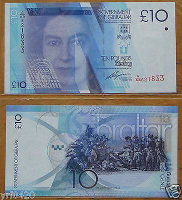 Gibraltar Banknote 10 Pounds 2010 UNC
