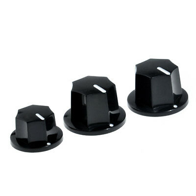 1set of 3pcs Black Control Knob For Fender Jazz Bass replacement Plastic