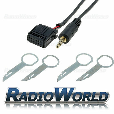 Ford Focus Mondeo Fiesta 6000CD Aux in Adapter Cable iPod MP3 Lead+ Removal Keys