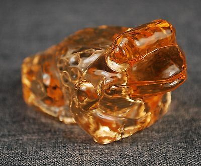 Frog glass figurine in an Amber color called Cider