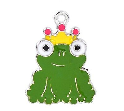 Frog Prince with Crown Green Enamel Traditional Charm 1pc