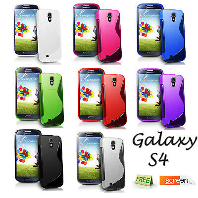 For Samsung Galaxy S4 I9500 S Line Wave Gel Case Phone Cover + Screen Protector