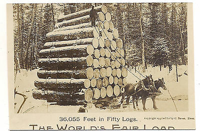 Worlds Fair Load of 50 Logs On Horse Drawn Sled, 1906 RPPC
