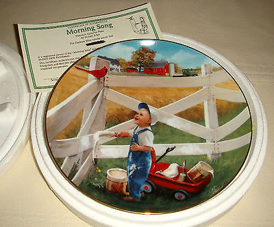 DONALD ZOLAN Little Farmhands Red Cardinal Fence & Boy Paints MORNING SONG Plate