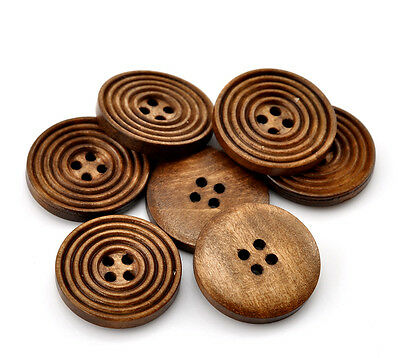 "50PCs Coffee 4 Holes Round Wood Sewing Buttons 25mm(1"") Dia. B21388"