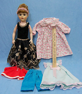 Vintage 50's Style Doll Vinyl Head Stuffed Rubber Body & 5 Handmade Outfits