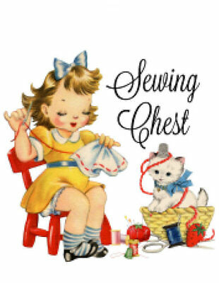 ~Vintage Image Shabby Large Little Girl Sewing Chest  Waterslide Decal~ MIS516