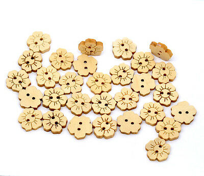 150 Flower Wood Sewing Buttons Scrapbooking Cardmaking 15x15mm
