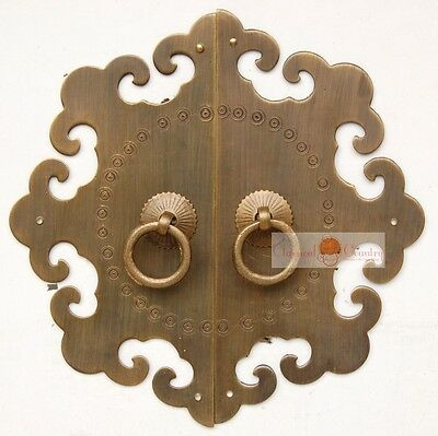 Antique Furniture Brass Hardware Cabinet Face Plate Door Pull Knocker Handle