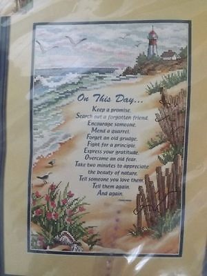 "Vtg 2000 UNUSED Sunset Stamped Cross Stitch Kit ""ON THIS DAY.."" SAMPLER 10x15"