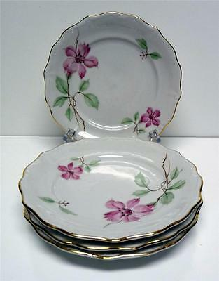 """FOREST-BLOSSOM TIME-BAVARIA-4 BREAD&BUTTER PLATES-SZ-5 3/4"""" -VINTAGE-50s-GERMANY"""