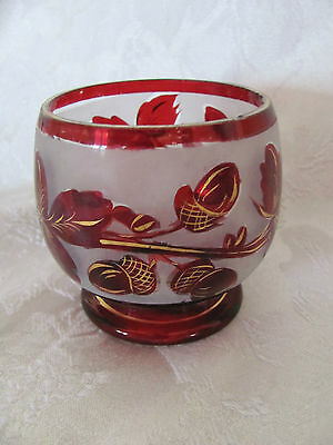 Ruby red, frosted white & gold rocks glass acorn pattern