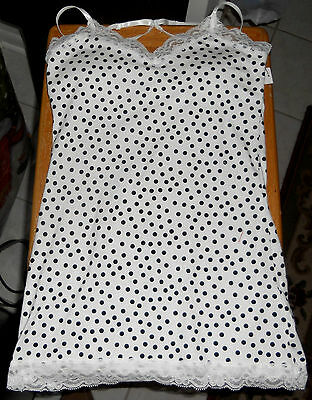 White with Dots Lace Trim Cotton Camisole Junior Size Large (11-13)