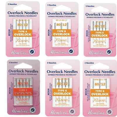 Hemline Overlock/ Serger Sewing Machine Needles Medium 80/12 Klasse