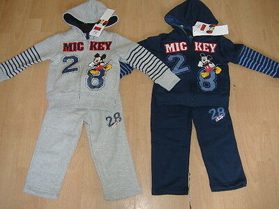New Boys Disney Mickey Mouse Jogging Suit Navy Grey 2 Piece Ages 2 3 4 5 6