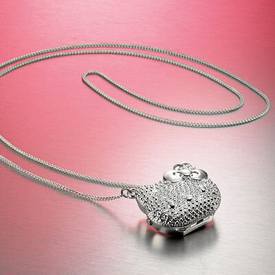 New Cute Ladies Girls Hello Kitty Pendant Necklace Fob Watch