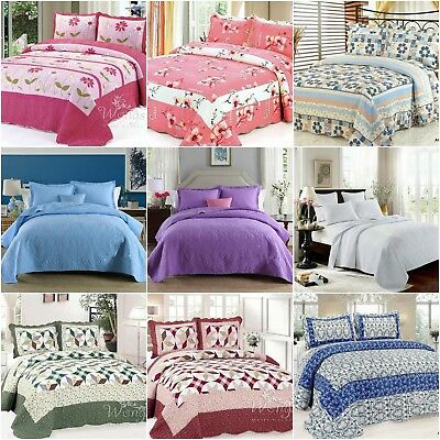 Cotton Bedspreads Set Quilted Coverlet Queen King Size Patchwork Blanket Throw