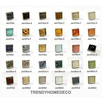 Crystal Glass Brushed Nickel Square Knob Modern Cabinet Kitchen Closet Handle